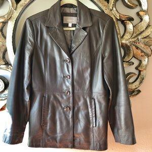 Soft Lambskin brown leather 3/4 Car Coat